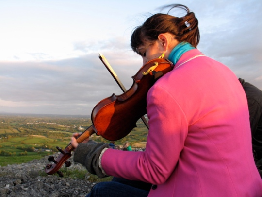 "Susan Hughes playing ""Nest of the Wren"" Atop Knockninny Hill"