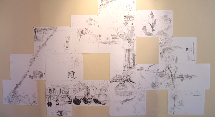 Collaborative Drawing Series #2, Installed at OCHO, Questa New Mexico
