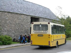 Bus outside Marble Arch Caves Visitor Centre